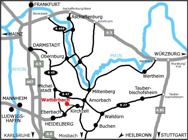 Anfahrt nach Watterbach